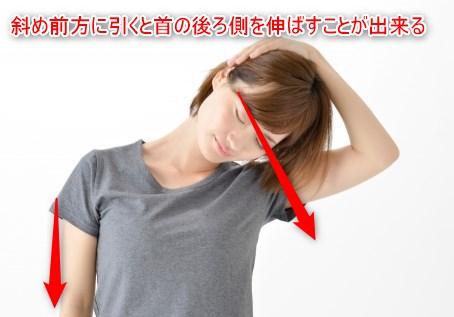 首の後ろ側のストレッチ